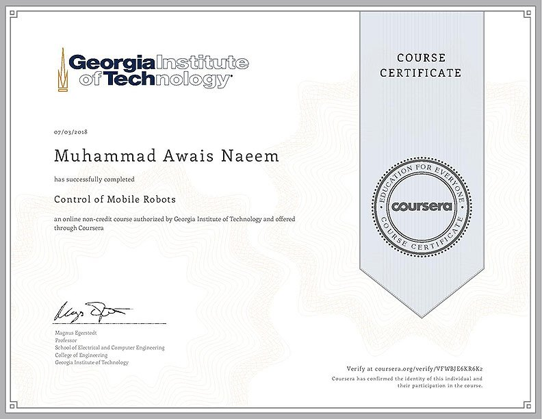 Certificate for Control of Mobile Robots(GRITS-Lab) from Coursera