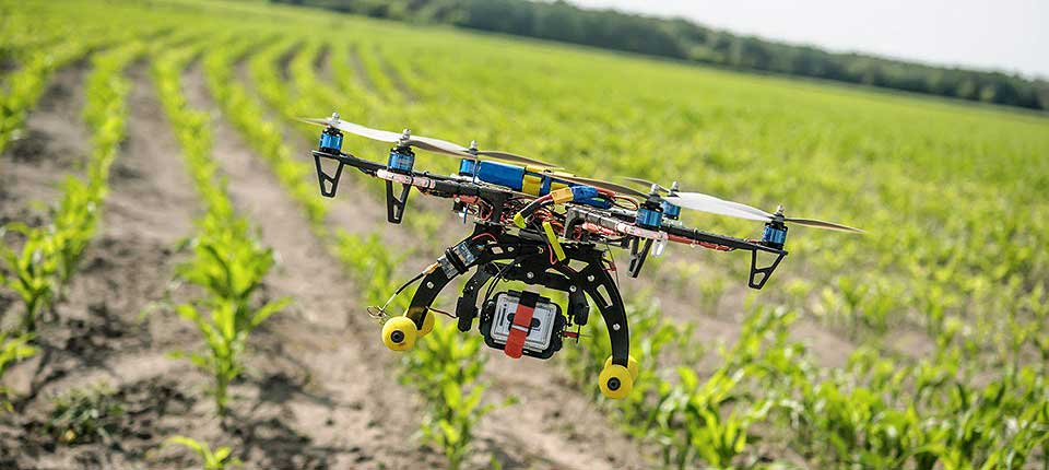 Flying Robot Inspecting the Crops