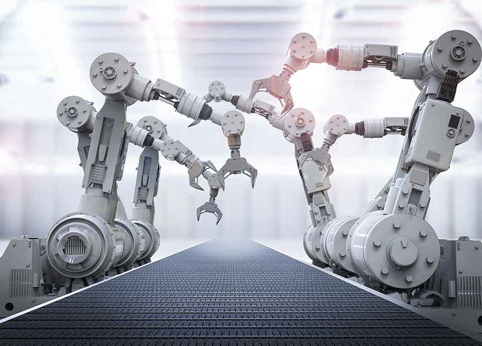 Industrial Robots Working on Assembly Line