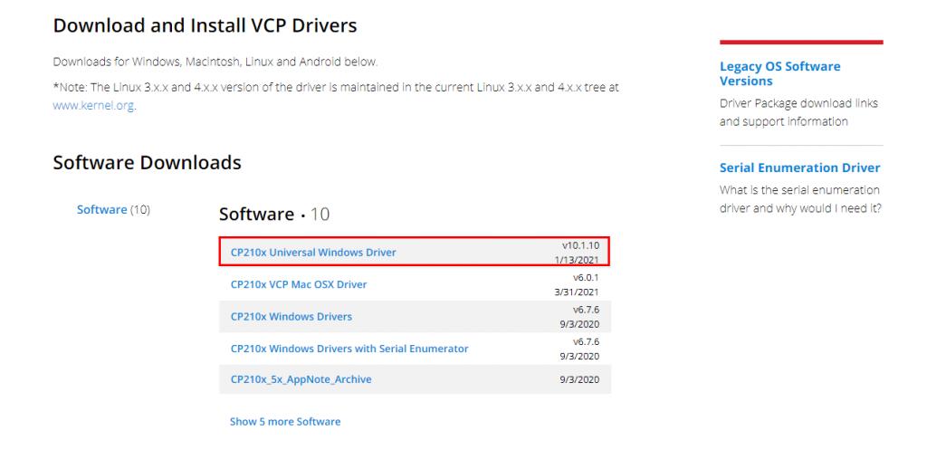 CP210x USB to UART Serial Bridge VCP Driver
