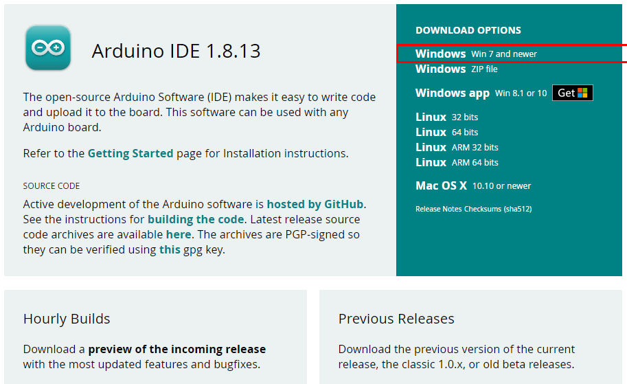 Downloading Arduino IDE for Windows
