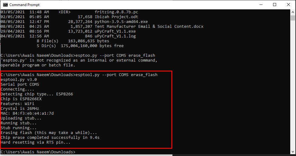 Erasing ESP8266 Flash using esptool in Windows