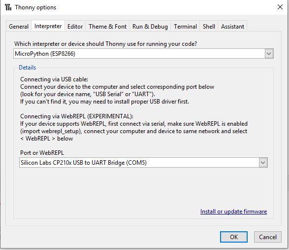 Micropython Interpreter and COM Settings for ESP8266