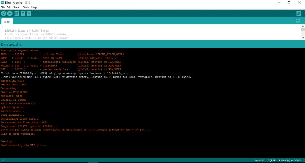 Program Uploading to NodeMCU ESP8266-12E