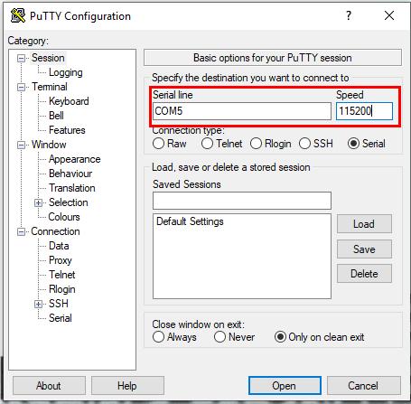 Putty Serial Terminal Settings in Windows