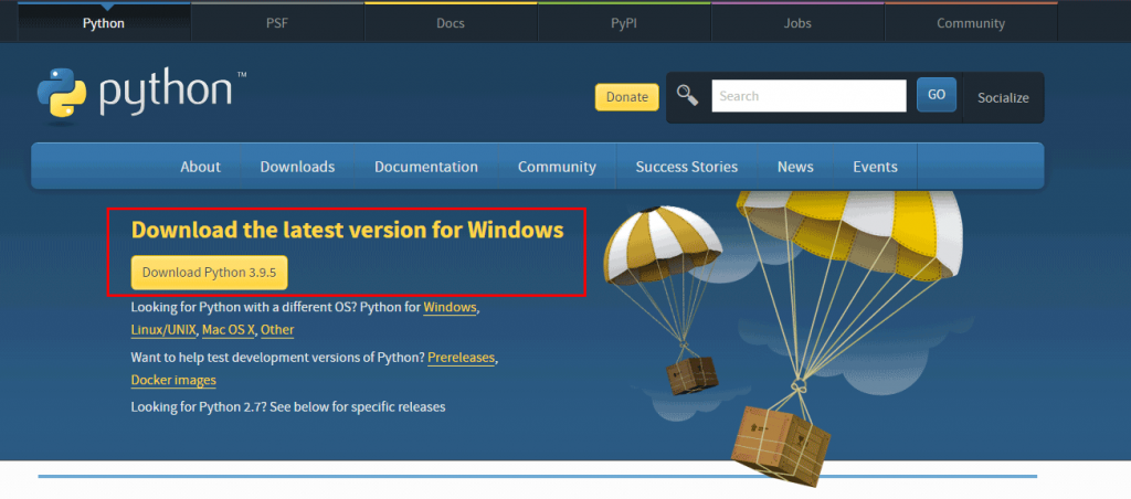 Python Download and Install in Windows