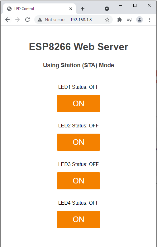 ESP8266 Server Web Page in STA Mode